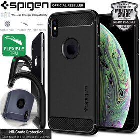 iPhone XS Case, Genuine SPIGEN Rugged Armor Resilient Ultra Soft Cover for Apple