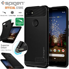 Pixel 3a Case, Genuine SPIGEN Rugged Armor Resilient Tough Soft Cover for Google