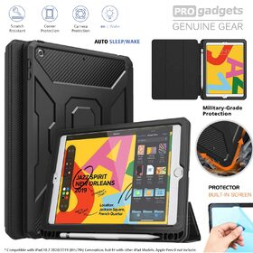 iPad 10.2 2019 Case, Genuine MOKO Shockproof Full Body Trifold Stand Cover
