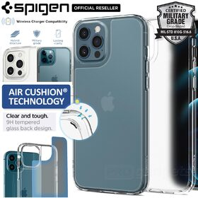 Genuine SPIGEN Quartz Hybrid Tempered Glass Back Cover for Apple iPhone 12 Pro Max (6.7-inch) Case