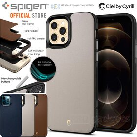 Genuine SPIGEN Ciel by CYRILL Leather Brick Air Cushion Cover for Apple iPhone 12 Pro Max (6.7-inch) Case
