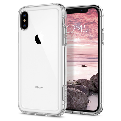 iPhone XS / X Case, Genuine SPIGEN Crystal Hybrid Ultra Tough Cover for Apple [Colour:Clear]